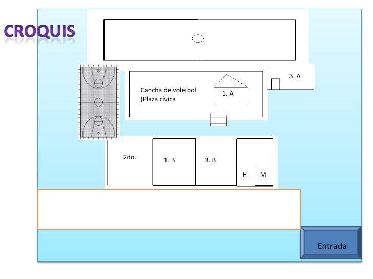 Croquis<br />3. A<br />3. A<br />Cancha de voleibol (Plaza cívica<br />1. A<br />2do.<br />1. B<br />3. B<br />H<br />M<br...