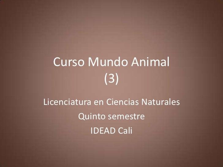 Curso Mundo Animal          (3)Licenciatura en Ciencias Naturales         Quinto semestre            IDEAD Cali