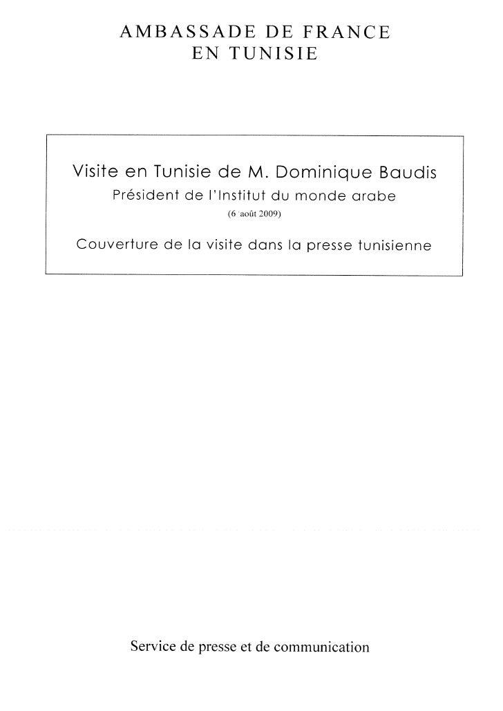 Communiqué de presse - Dominique en Tunisie