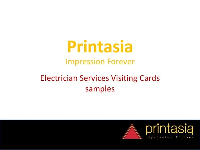 Printasia Impression Forever Electrician Services Visiting Cards samples