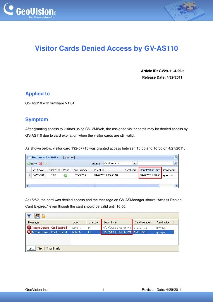Visitor Cards Denied Access by GV-AS110                                                                          Article I...