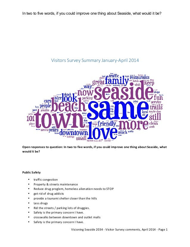 In two to five words, if you could improve one thing about Seaside, what would it be?	    	    	   Visioning	   Seaside	  ...