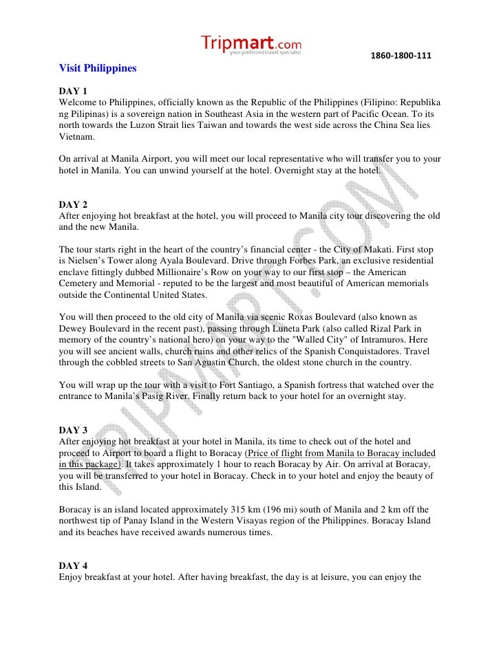 1860-1800-111Visit PhilippinesDAY 1Welcome to Philippines, officially known as the Republic of the Philippines (Filipino: ...