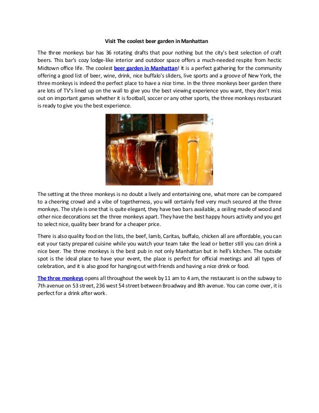 Visit The Coolest Beer Garden In Manhattan