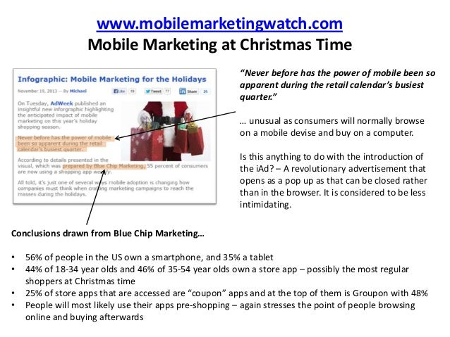 """www.mobilemarketingwatch.com Mobile Marketing at Christmas Time """"Never before has the power of mobile been so apparent dur..."""