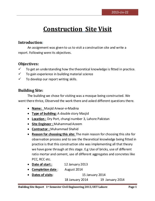 Visit to a construction site for Construction site visit report template