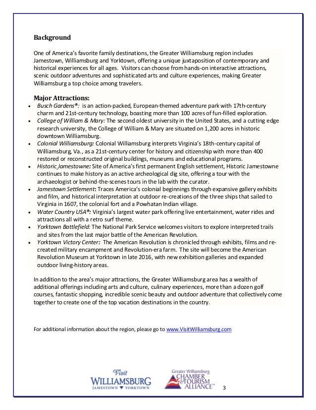 Visit Williamsburg PR Agency Request For Proposal