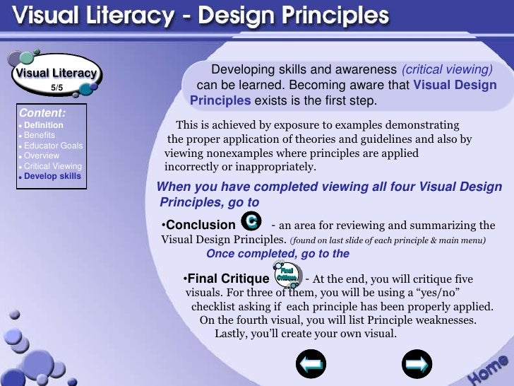 Visual Design Principles : Visual literacy design principles