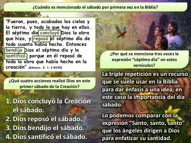 """¿Cuándo es mencionado el sábado por primera vez en la Biblia?""""Fueron, pues, acabados los cielos yla tierra, y todo lo que ..."""