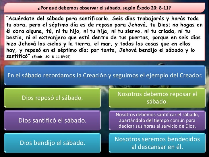 """¿Por qué debemos observar el sábado, según Éxodo 20: 8-11?""""Acuérdate del sábado para santificarlo. Seis días trabajarás y ..."""