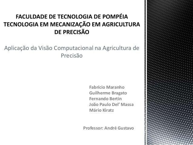 Aplicação da Visão Computacional na Agricultura de                     Precisão                               Fabrício Mar...