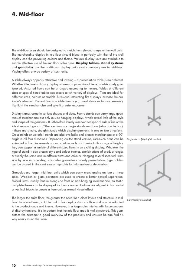 4. Mid-floor  10 Visual Merchandising – Guidelines for practical implementation  Single stands (Visplay's Icons flat)  Bar...