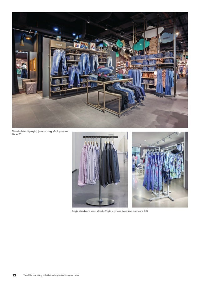 Tiered tables displaying jeans – using Visplay system  Kado 25  Single stands and cross stands (Visplay systems Area Viva ...