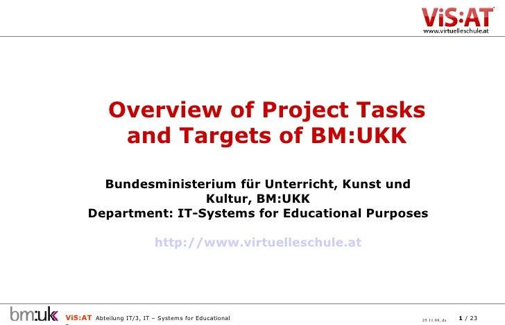 Bundesministerium für Unterricht, Kunst und Kultur, BM:UKK Department: IT-Systems for Educational Purposes http://www.virt...