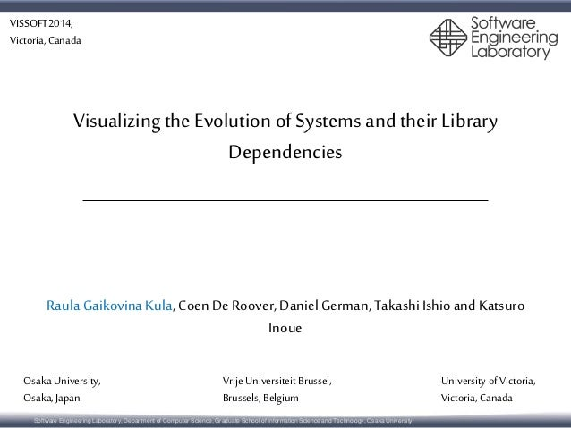 VISSOFT2014,  Victoria, Canada  Visualizing the Evolution of Systems and their Library  Dependencies  Raula Gaikovina Kula...