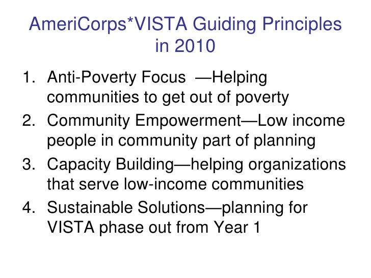 the ameri corps vista program essay What is americorp vista americorps vista (volunteers in service to america) is an anti-poverty program created by the federal government in 1964.