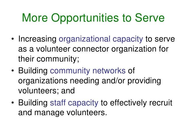 Increasing organization capacity