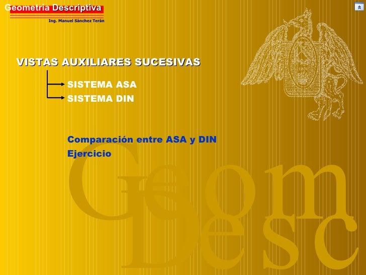 Desc Geom VISTAS AUXILIARES SUCESIVAS SISTEMA DIN SISTEMA ASA Comparación entre ASA y DIN Ejercicio Geometría  Descriptiva...