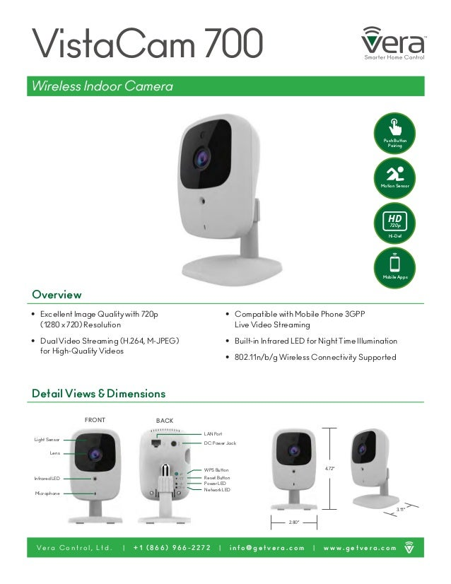 """3.11"""" VistaCam 700 • Excellent Image Quality with 720p (1280 x 720) Resolution • Dual Video Streaming (H.264, M-JPEG) for ..."""