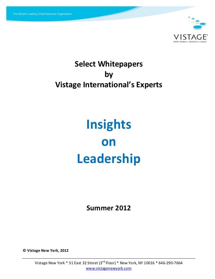 Vistage best of leadership whitepapers