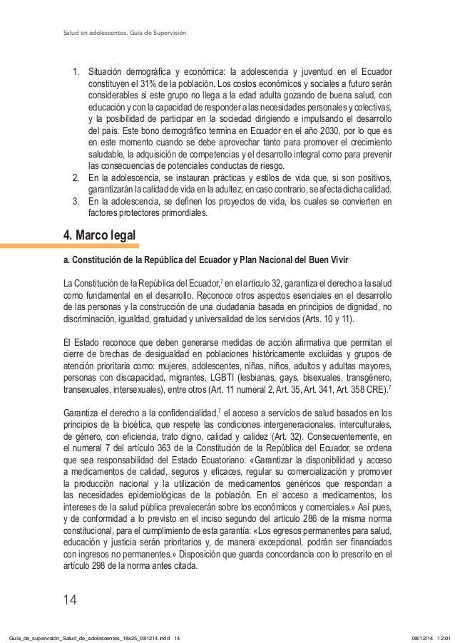 Salud en adolescentes. Guía de Supervisión 14 1. Situación demográfica y económica: la adolescencia y juventud en el Ecua...