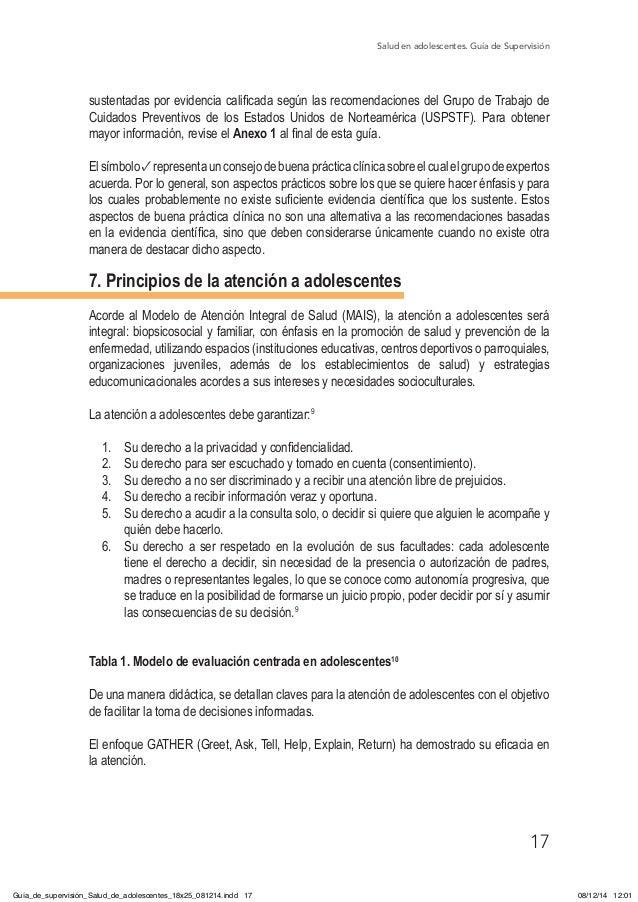 Salud en adolescentes. Guía de Supervisión 17 sustentadas por evidencia calificada según las recomendaciones del Grupo de ...