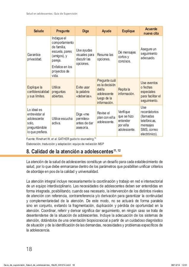 Salud en adolescentes. Guía de Supervisión 18 Salude Pregunte Diga Ayude Explique Acuerde nueva cita Garantice privacidad....
