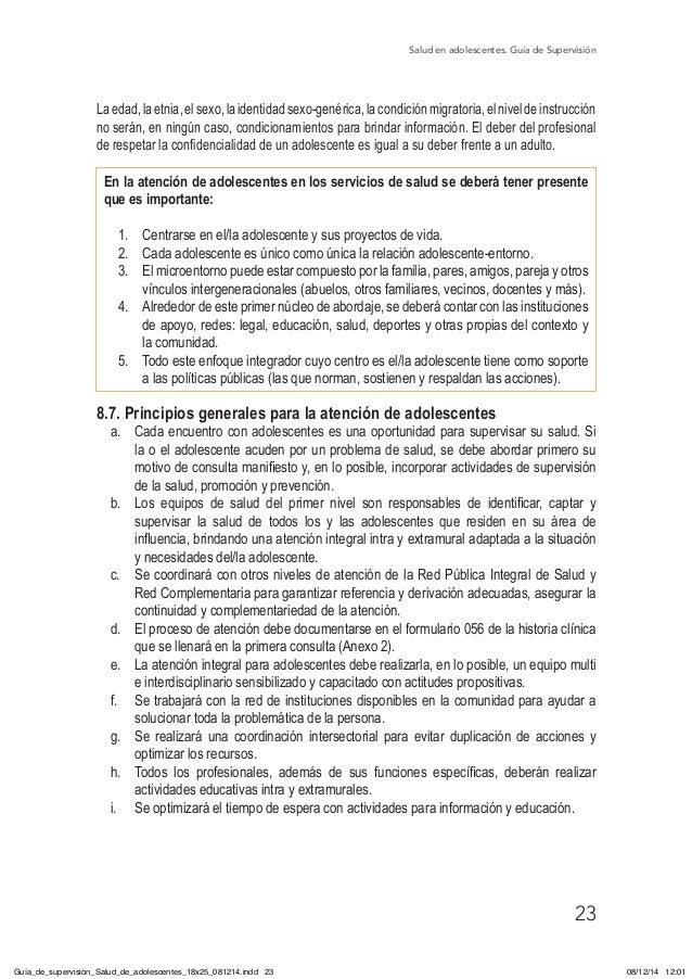 Salud en adolescentes. Guía de Supervisión 23 Laedad,laetnia,elsexo,laidentidadsexo-genérica,lacondiciónmigratoria,elnivel...