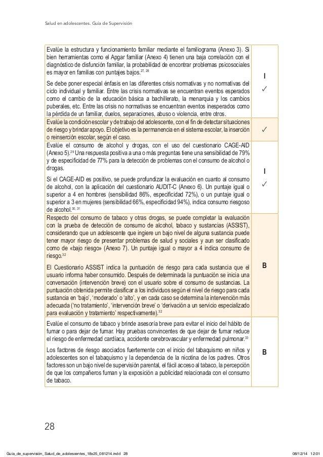 Salud en adolescentes. Guía de Supervisión 28 Evalúe la estructura y funcionamiento familiar mediante el familiograma (Ane...