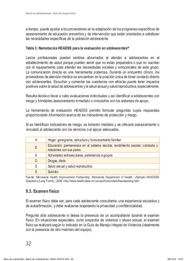 Salud en adolescentes. Guía de Supervisión 32 a tiempo, puede ayudar a los proveedores en la adaptación de los programas e...
