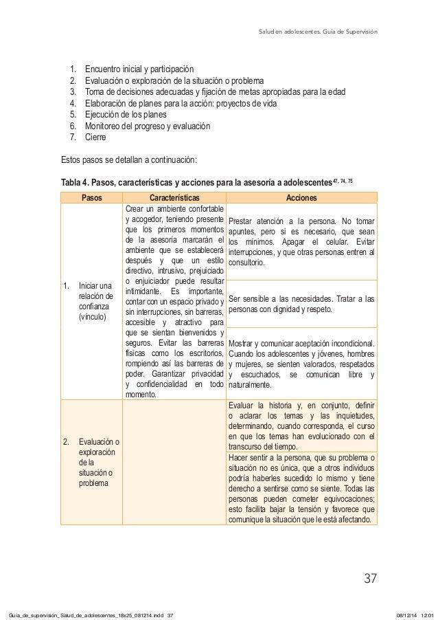 Salud en adolescentes. Guía de Supervisión 37 1. Encuentro inicial y participación 2. Evaluación o exploración de la sit...