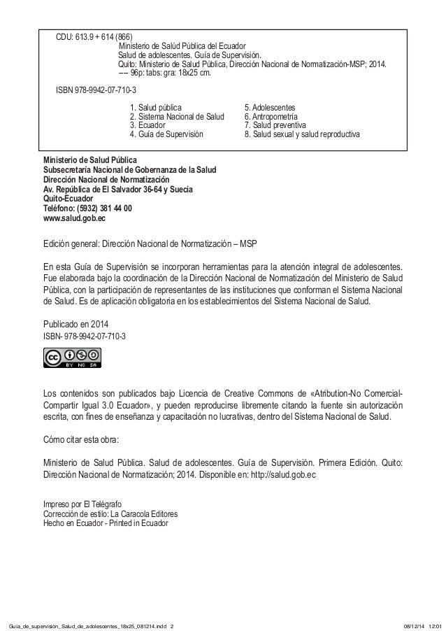 Ministerio de Salud Pública Subsecretaría Nacional de Gobernanza de la Salud Dirección Nacional de Normatización Av. Repúb...