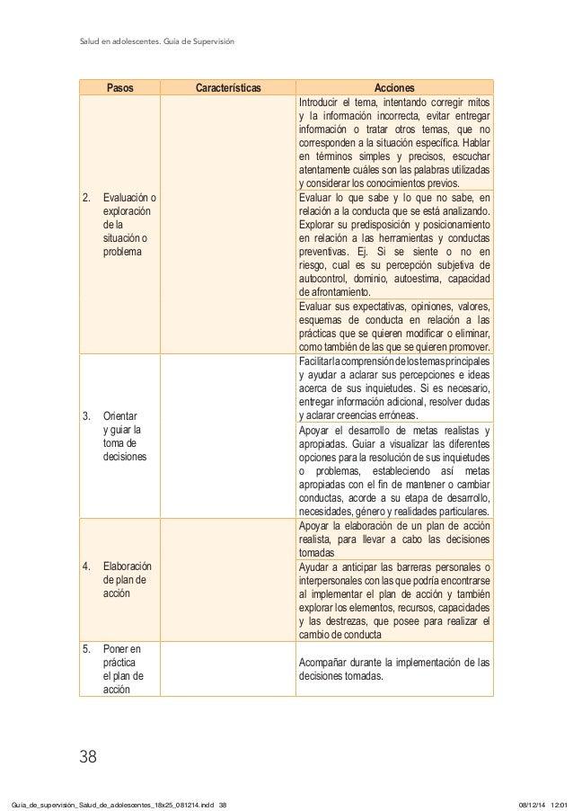 Salud en adolescentes. Guía de Supervisión 38 Pasos Características Acciones 2. Evaluación o exploración de la situación ...