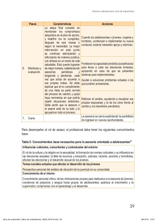 Salud en adolescentes. Guía de Supervisión 39 Pasos Características Acciones 6. Monitoreo y evaluación La etapa final con...