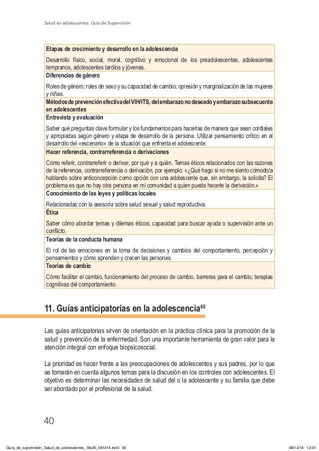 Salud en adolescentes. Guía de Supervisión 40 Etapas de crecimiento y desarrollo en la adolescencia Desarrollo físico, soc...