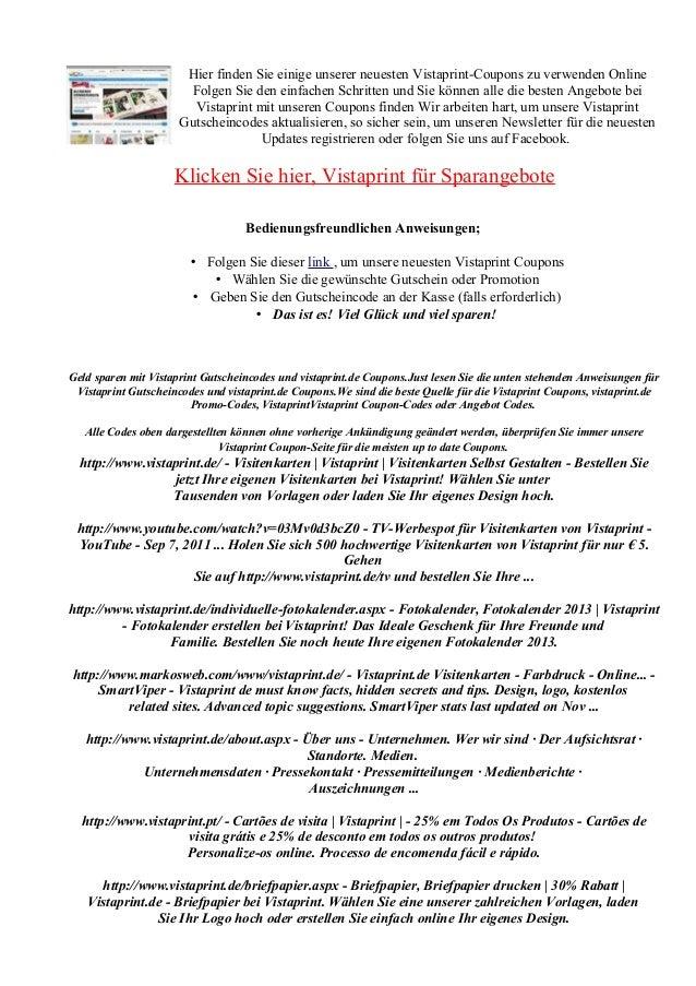 Vistaprint De Gutscheincode