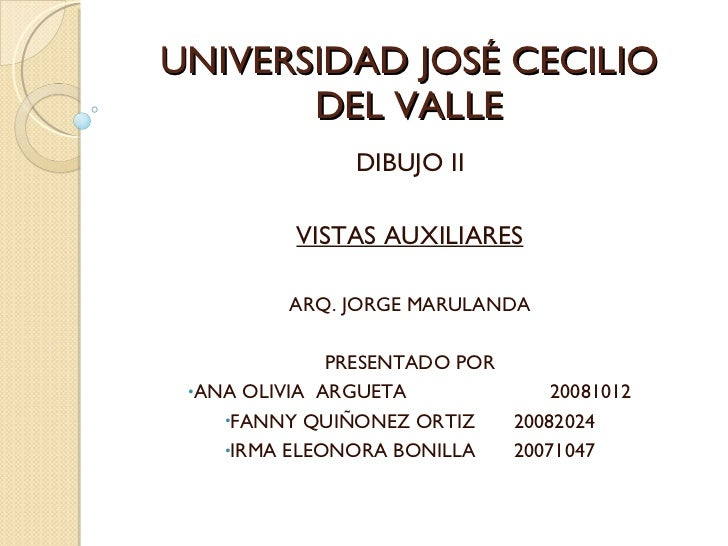 UNIVERSIDAD JOSÉ CECILIO DEL VALLE <ul><li>DIBUJO II </li></ul><ul><li>VISTAS AUXILIARES </li></ul><ul><li>ARQ. JORGE MARU...