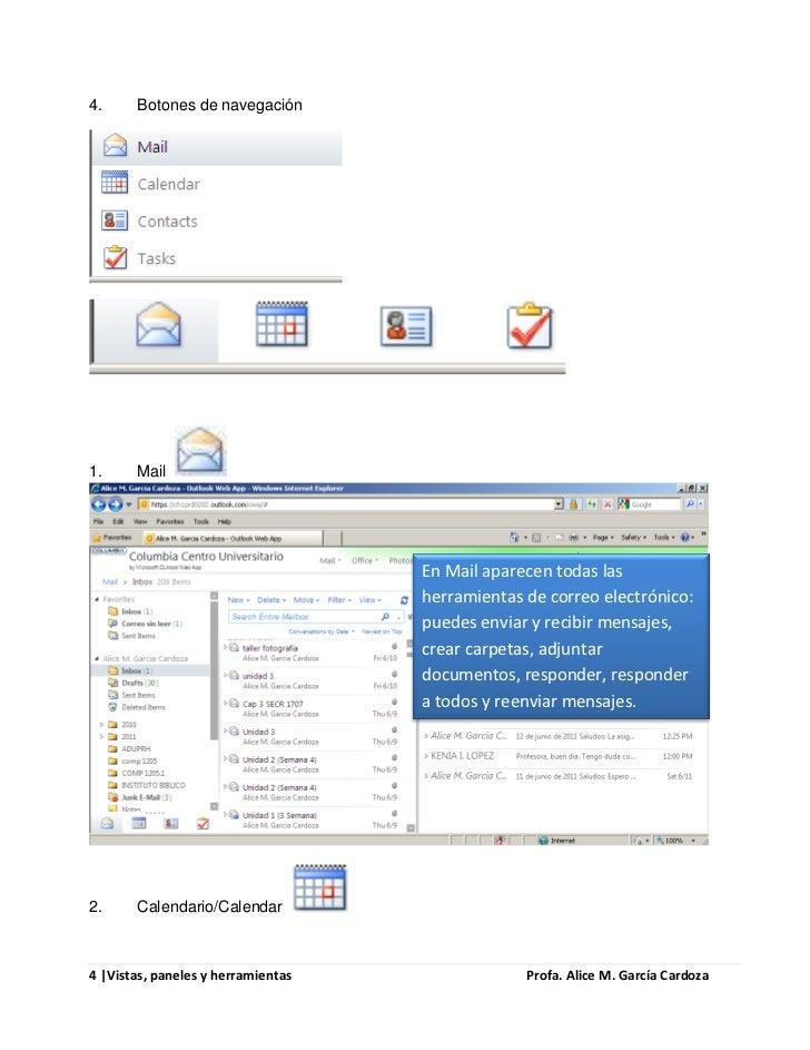4.     Botones de navegación1.     Mail                                    En Mail aparecen todas las                     ...