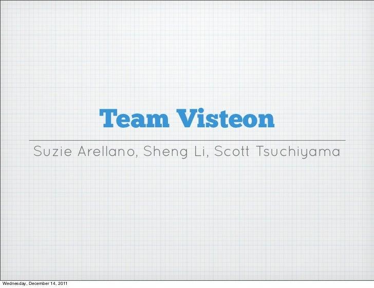 Team Visteon             Suzie Arellano, Sheng Li, Scott TsuchiyamaWednesday, December 14, 2011