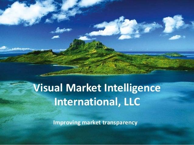 Visual Market Intelligence International, LLC Improving market transparency