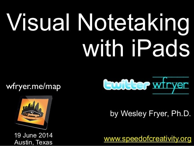 by Wesley Fryer, Ph.D. Visual Notetaking with iPads www.speedofcreativity.org 19 June 2014 Austin, Texas wfryer.me/map