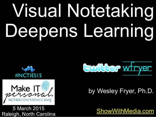 by Wesley Fryer, Ph.D. ShowWithMedia.com 5 March 2015 Raleigh, North Carolina #NCTIES15 Visual Notetaking Deepens Learning