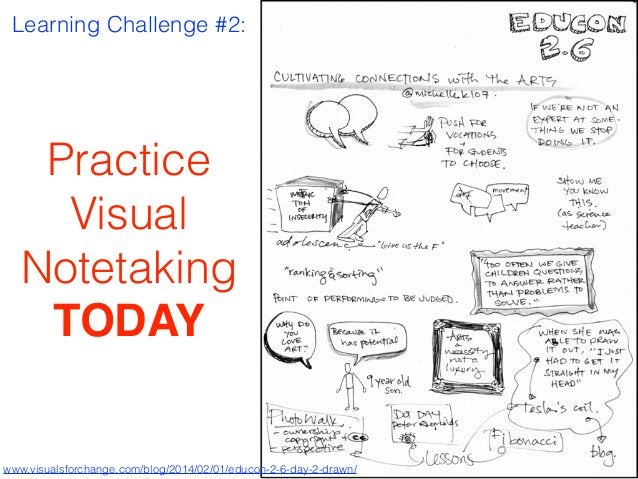 Learning Challenge #2: Practice Visual Notetaking TODAY www.visualsforchange.com/blog/2014/02/01/educon-2-6-day-2-drawn/