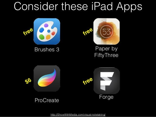 Consider these iPad Apps Brushes 3 Paper by FiftyThree ProCreate Forge http://ShowWithMedia.com/visual-notetaking/ free fr...