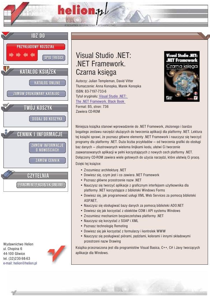 IDZ DO          PRZYK£ADOWY ROZDZIA£                             SPIS TRE CI   Visual Studio .NET:                        ...