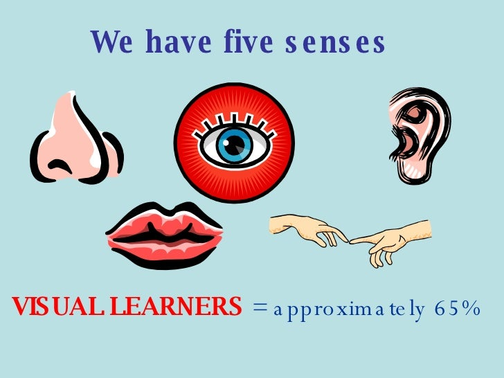 <ul><li>VISUAL LEARNERS   = approximately 65%   </li></ul>We have five senses