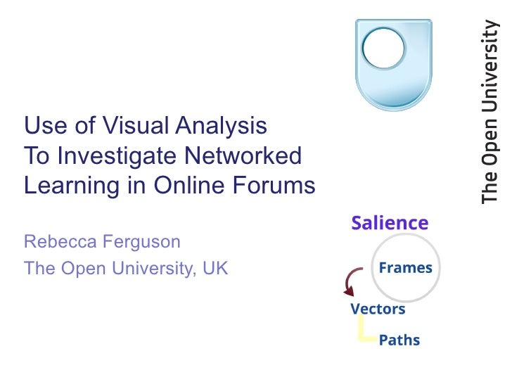 Use of Visual AnalysisTo Investigate NetworkedLearning in Online ForumsRebecca FergusonThe Open University, UK