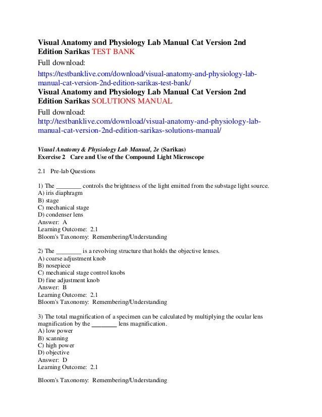 visual anatomy and physiology lab manual cat version 2nd edition sari rh slideshare net Anatomy and Physiology Lab Manual Elaine Anatomy Lab Test