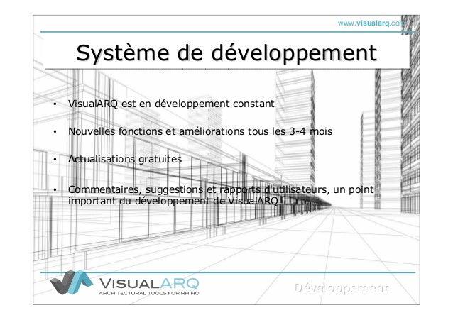 www.visualarq.com Système de développementSystSystèème de dme de dééveloppementveloppement • VisualARQ est en développemen...