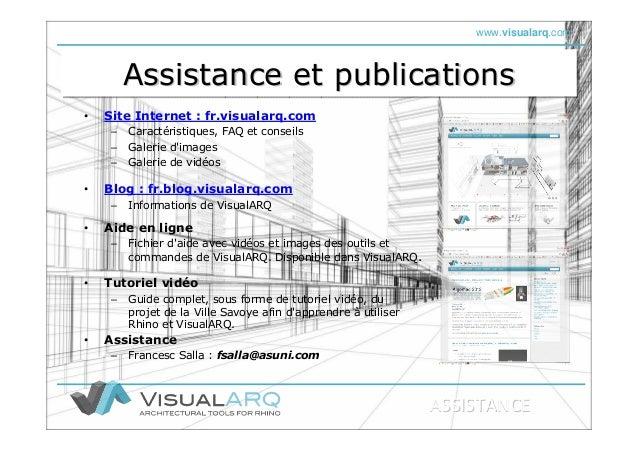 www.visualarq.com Assistance et publicationsAssistance et publicationsAssistance et publications • Site Internet : fr.visu...